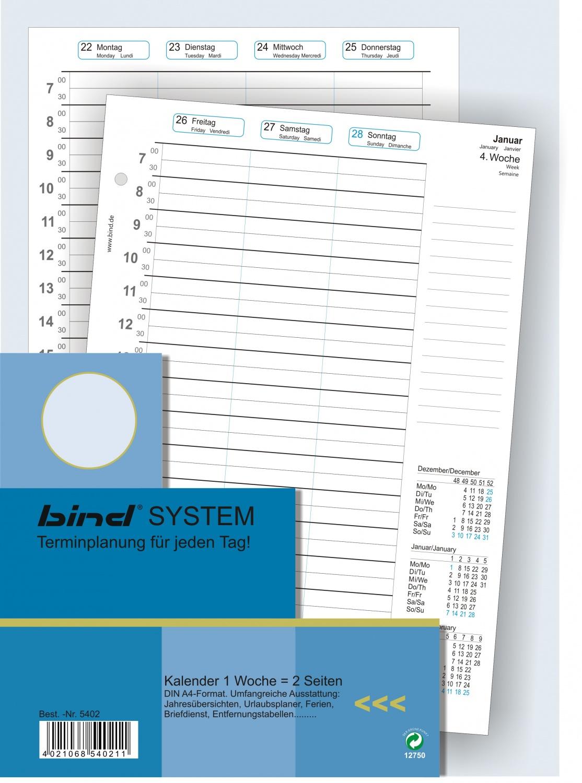 bind A6 Kalender für Systemplaner Organizer Terminplaner 1 Woche auf 2 Seiten